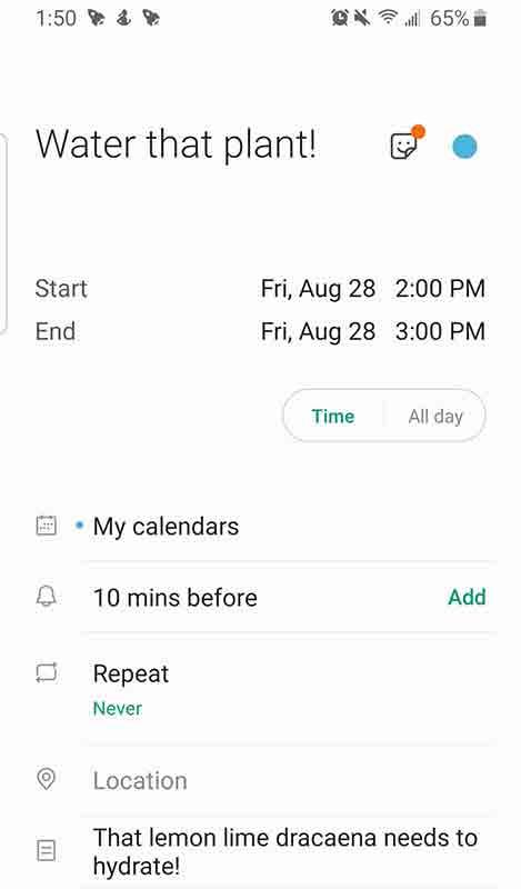 Watering Calendar Reminder